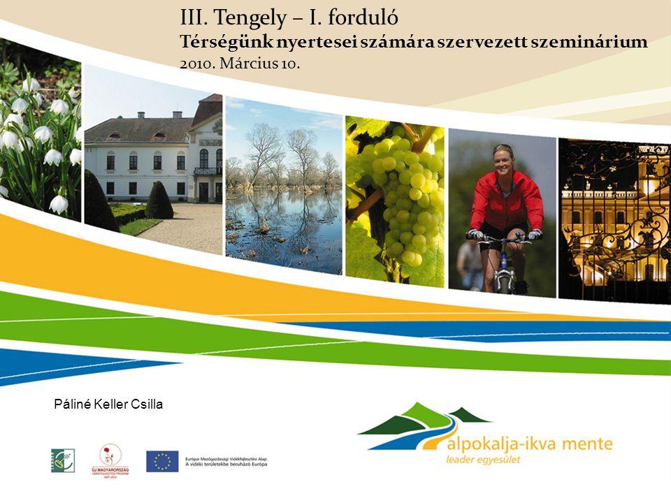 III. Tengely – I. forduló Térségünk nyertesei számára szervezett szeminárium 2010. Március 10. Páliné Keller Csilla