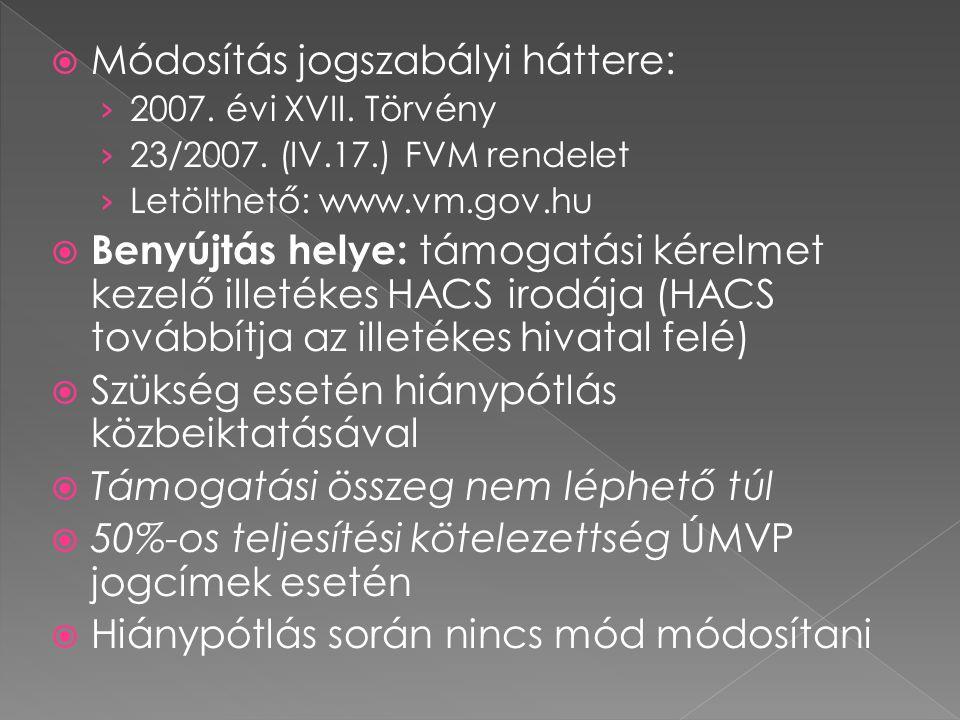  Módosítás jogszabályi háttere: › 2007. évi XVII.
