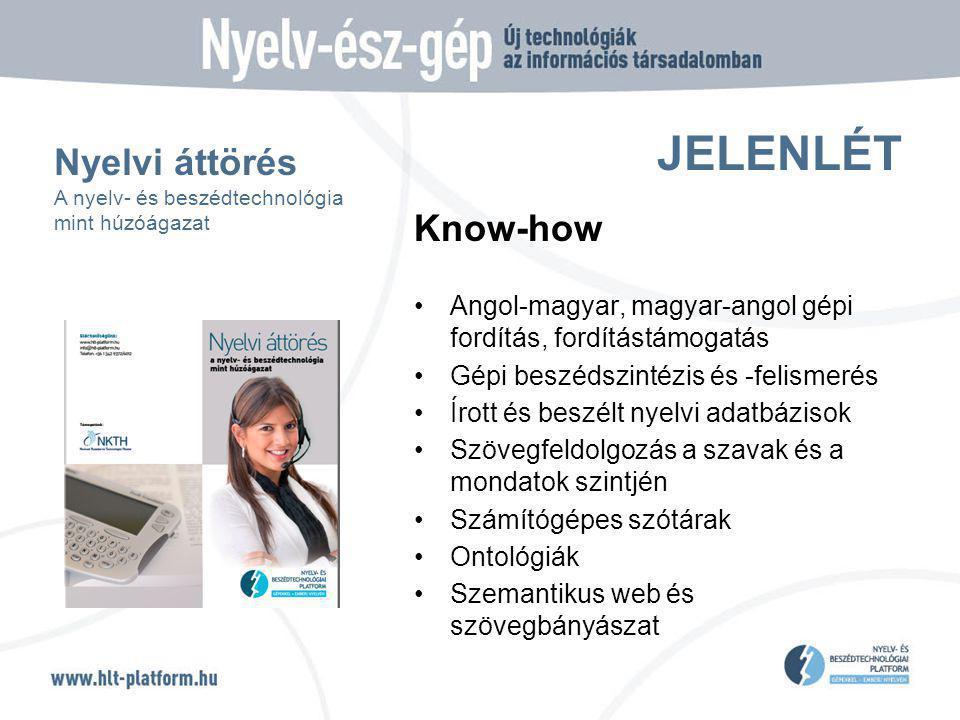 JELENLÉT Know-how Angol-magyar, magyar-angol gépi fordítás, fordítástámogatás Gépi beszédszintézis és -felismerés Írott és beszélt nyelvi adatbázisok Szövegfeldolgozás a szavak és a mondatok szintjén Számítógépes szótárak Ontológiák Szemantikus web és szövegbányászat Nyelvi áttörés A nyelv- és beszédtechnológia mint húzóágazat