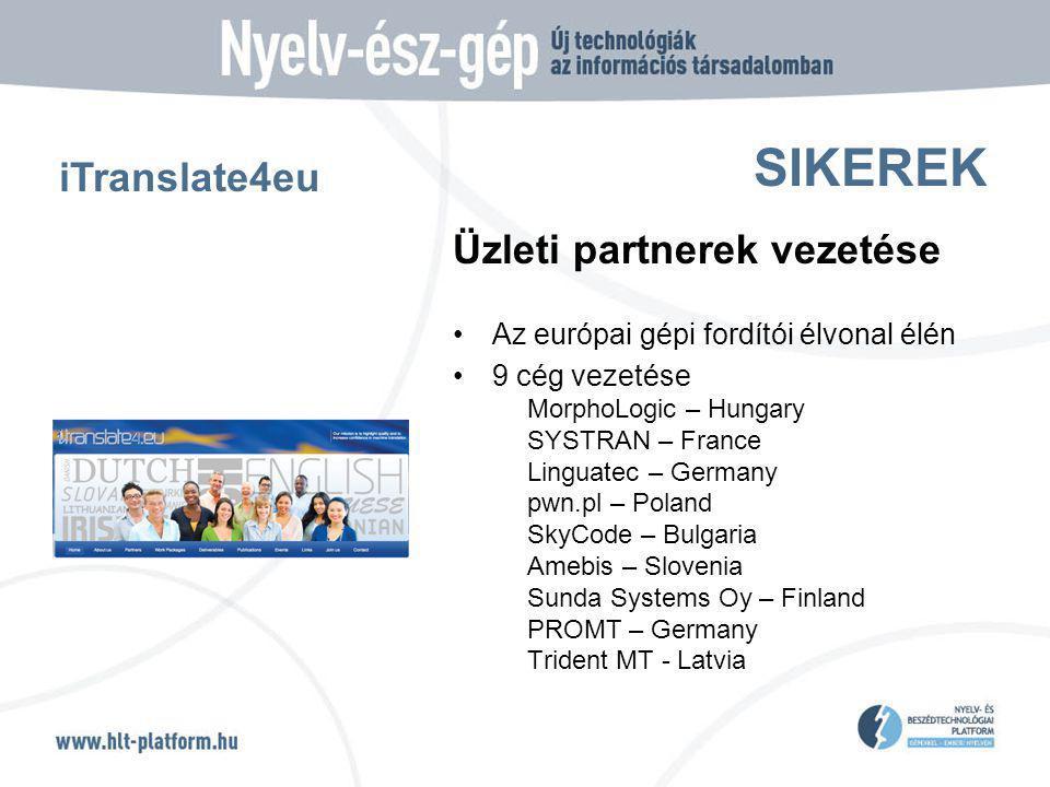 SIKEREK Üzleti partnerek vezetése Az európai gépi fordítói élvonal élén 9 cég vezetése MorphoLogic – Hungary SYSTRAN – France Linguatec – Germany pwn.