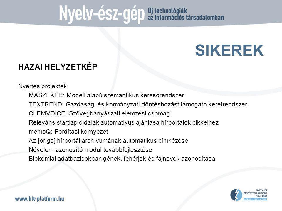 SIKEREK HAZAI HELYZETKÉP Nyertes projektek MASZEKER: Modell alapú szemantikus keresőrendszer TEXTREND: Gazdasági és kormányzati döntéshozást támogató