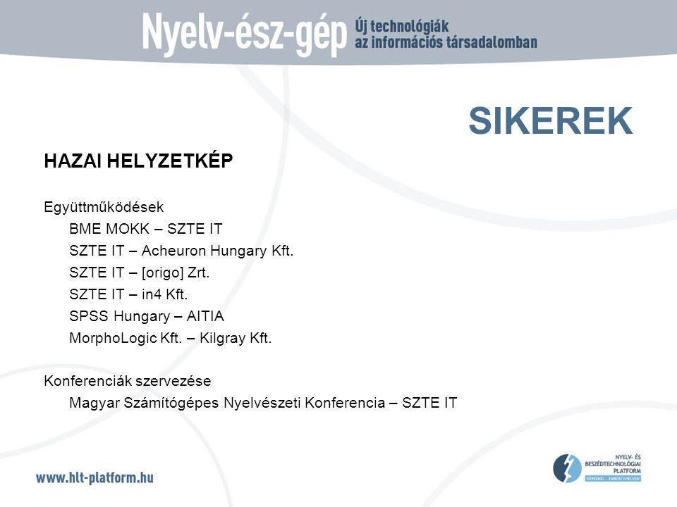 SIKEREK HAZAI HELYZETKÉP Együttműködések BME MOKK – SZTE IT SZTE IT – Acheuron Hungary Kft. SZTE IT – [origo] Zrt. SZTE IT – in4 Kft. SPSS Hungary – A