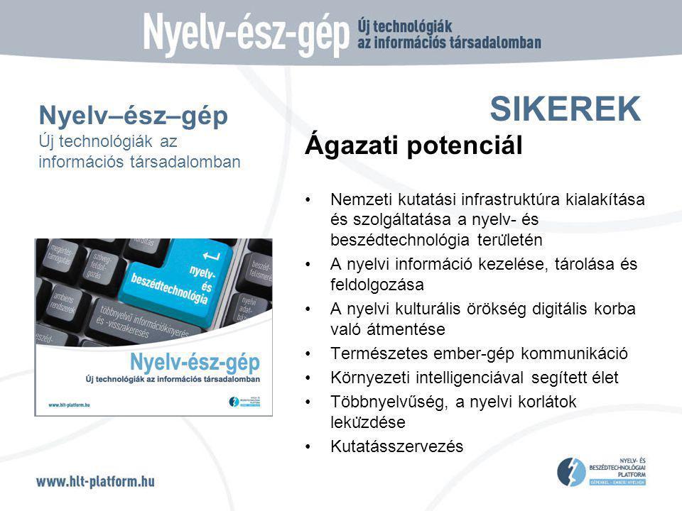 SIKEREK Ágazati potenciál Nemzeti kutatási infrastruktúra kialakítása és szolgáltatása a nyelv- és beszédtechnológia teru ̈ letén A nyelvi információ