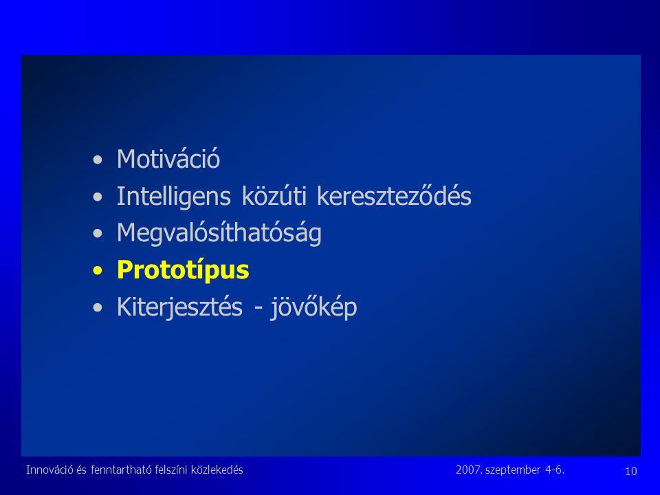 2007. szeptember 4-6.Innováció és fenntartható felszíni közlekedés 10 Motiváció Intelligens közúti kereszteződés Megvalósíthatóság Prototípus Kiterjes