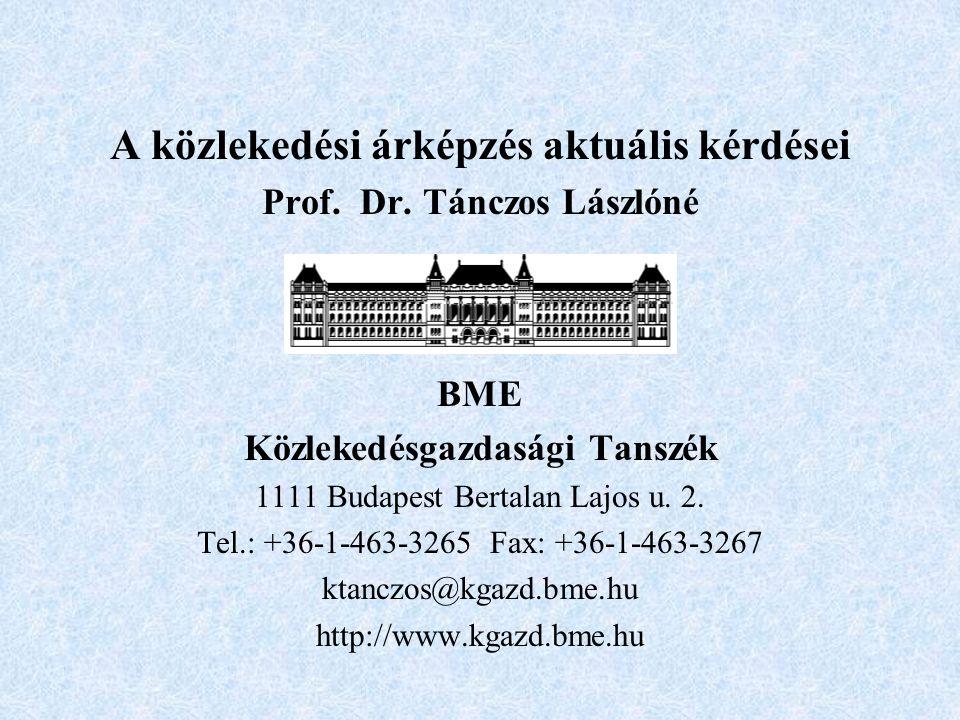 A közlekedési árképzés aktuális kérdései Prof. Dr.