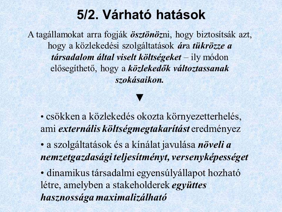 5/2. Várható hatások A tagállamokat arra fogják ösztönözni, hogy biztosítsák azt, hogy a közlekedési szolgáltatások ára tükrözze a társadalom által vi