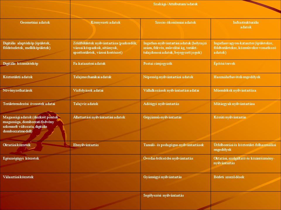 Szakági-/Attributum/adatok Geometriai adatokKörnyezeti adatokSzocio-ökonómiai adatokInfrastrukturális adatok Digitális alaptérkép (épületek, földrészl