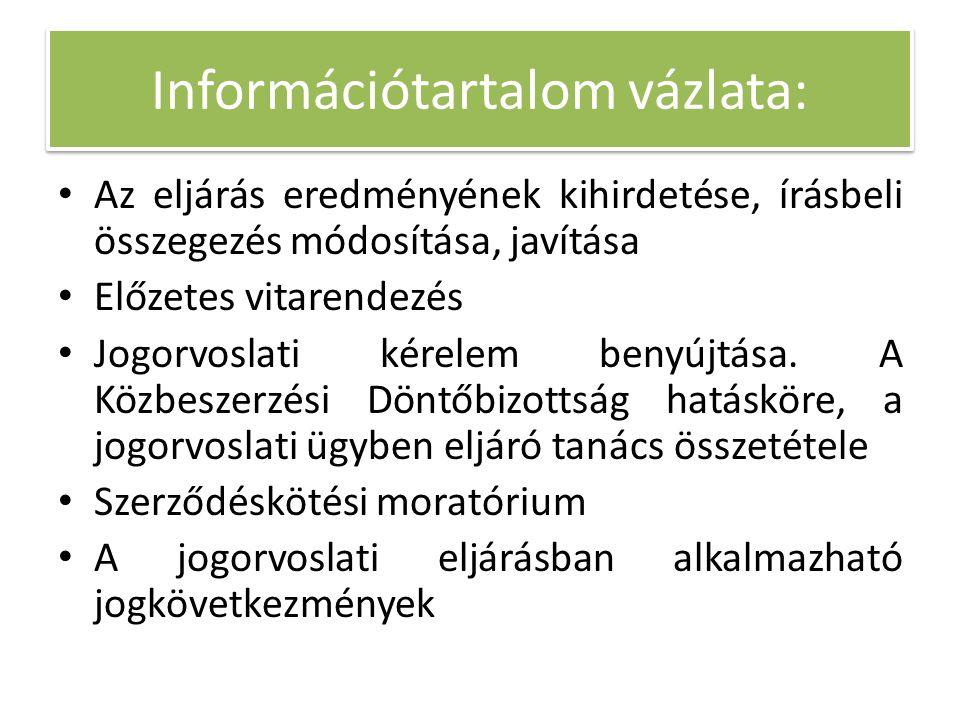 Információtartalom vázlata: Az eljárás eredményének kihirdetése, írásbeli összegezés módosítása, javítása Előzetes vitarendezés Jogorvoslati kérelem b