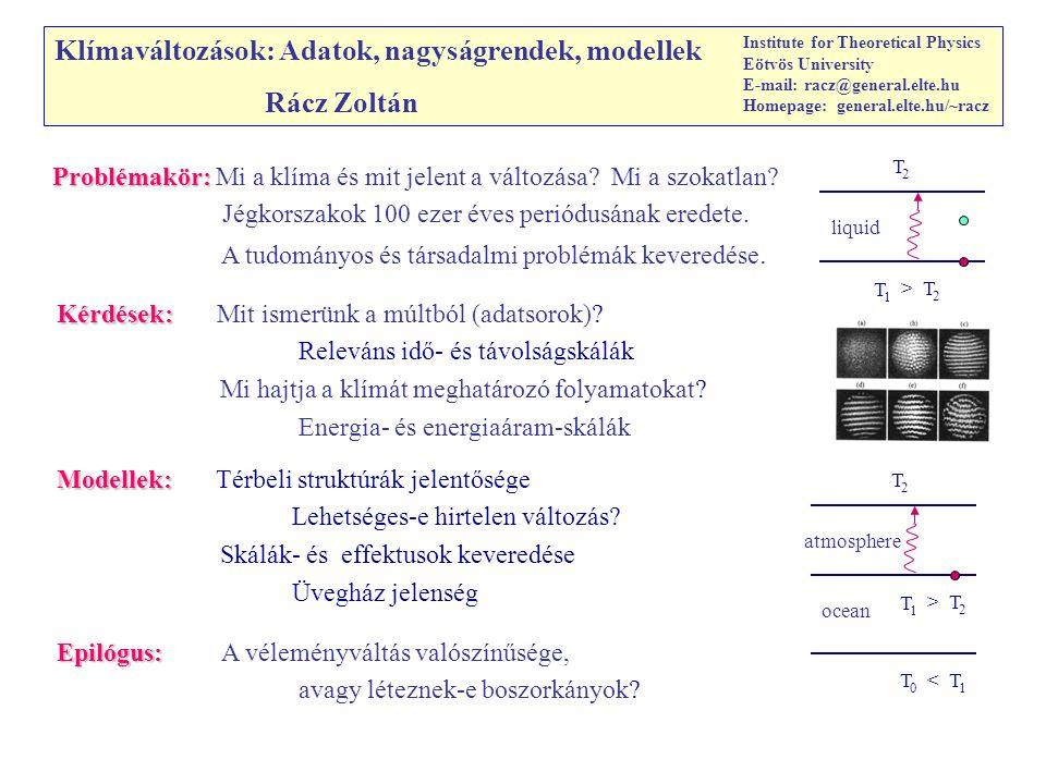 Klímaváltozások: Adatok, nagyságrendek, modellek Rácz Zoltán Institute for Theoretical Physics Eötvös University E-mail: racz@general.elte.hu Homepage: general.elte.hu/~racz Epilógus: Epilógus: A véleményváltás valószínűsége, avagy léteznek-e boszorkányok.