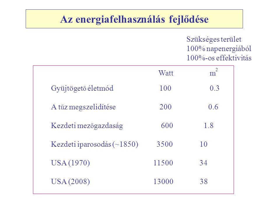 Az energiafelhasználás fejlődése Gyüjtöget ő életmód 100 0.3 A t ű z megszelidítése 200 0.6 Kezdeti mez ő gazdaság 600 1.8 Kezdeti iparosodás (~1850) 3500 10 USA (1970) 11500 34 USA (2008) 13000 38 Watt m Szükséges terület 100% napenergiából 100%-os effektivitás 2