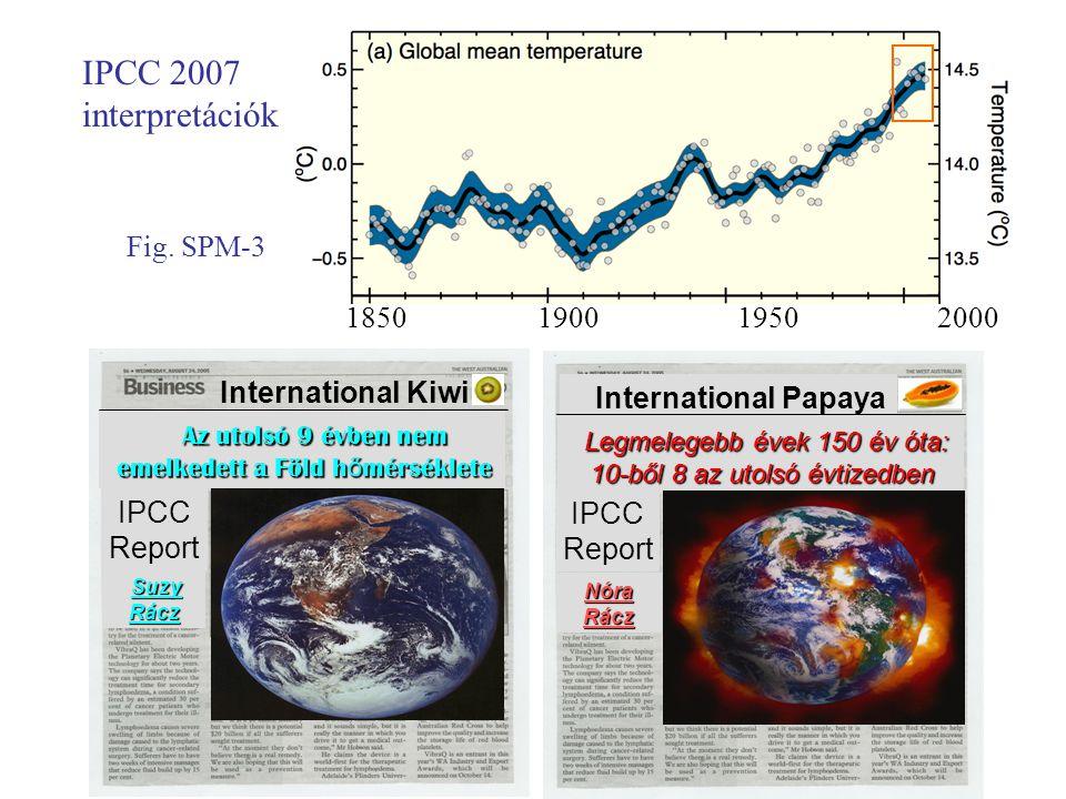Az utolsó 9 évben nem emelkedett a Föld h ő mérséklete emelkedett a Föld h ő mérséklete International Kiwi IPCC Report Suzy Rácz Legmelegebb évek 150 év óta: 10-ből 8 az utolsó évtizedben 10-ből 8 az utolsó évtizedben International Papaya IPCC Report Nóra Rácz IPCC 2007 interpretációk 1850 1900 1950 2000 Fig.