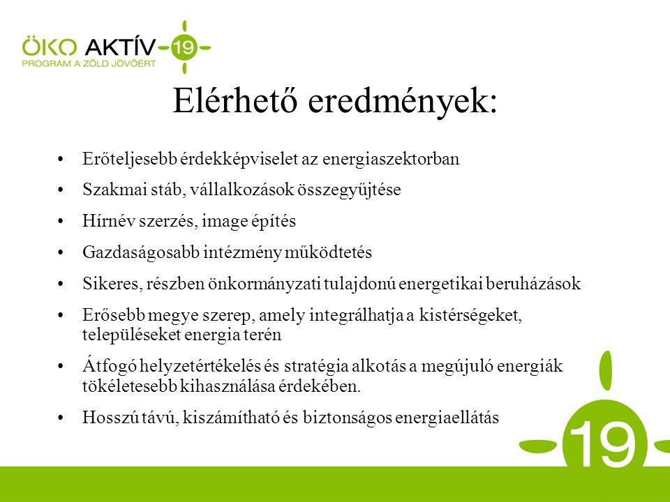Elérhető eredmények: Erőteljesebb érdekképviselet az energiaszektorban Szakmai stáb, vállalkozások összegyűjtése Hírnév szerzés, image építés Gazdaságosabb intézmény működtetés Sikeres, részben önkormányzati tulajdonú energetikai beruházások Erősebb megye szerep, amely integrálhatja a kistérségeket, településeket energia terén Átfogó helyzetértékelés és stratégia alkotás a megújuló energiák tökéletesebb kihasználása érdekében.