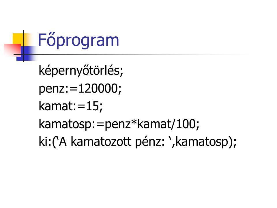 Főprogram képernyőtörlés; penz:=120000; kamat:=15; kamatosp:=penz*kamat/100; ki:('A kamatozott pénz: ',kamatosp);
