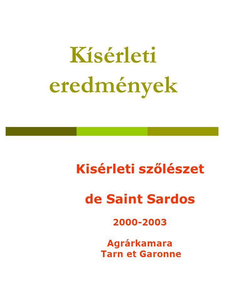 Kísérleti eredmények Kisérleti szőlészet de Saint Sardos 2000-2003 Agrárkamara Tarn et Garonne