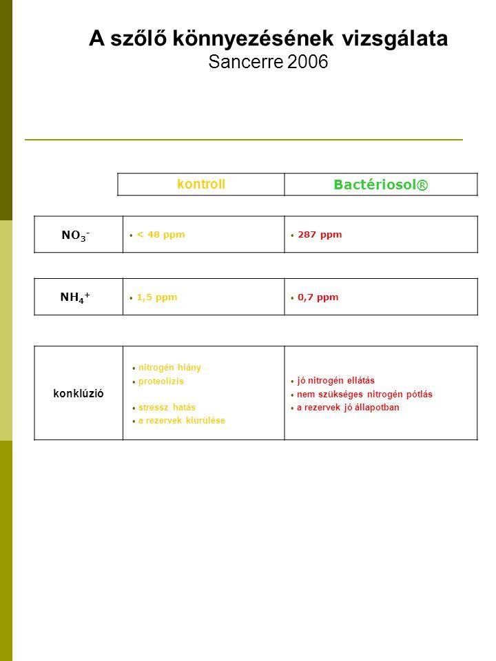 kontroll Bactériosol® konklúzió  nitrogén hiány  proteolízis  stressz hatás  a rezervek kiürülése  jó nitrogén ellátás  nem szükséges nitrogén pótlás  a rezervek jó állapotban NH 4 +  1,5 ppm  0,7 ppm NO 3 -  < 48 ppm  287 ppm A szőlő könnyezésének vizsgálata Sancerre 2006