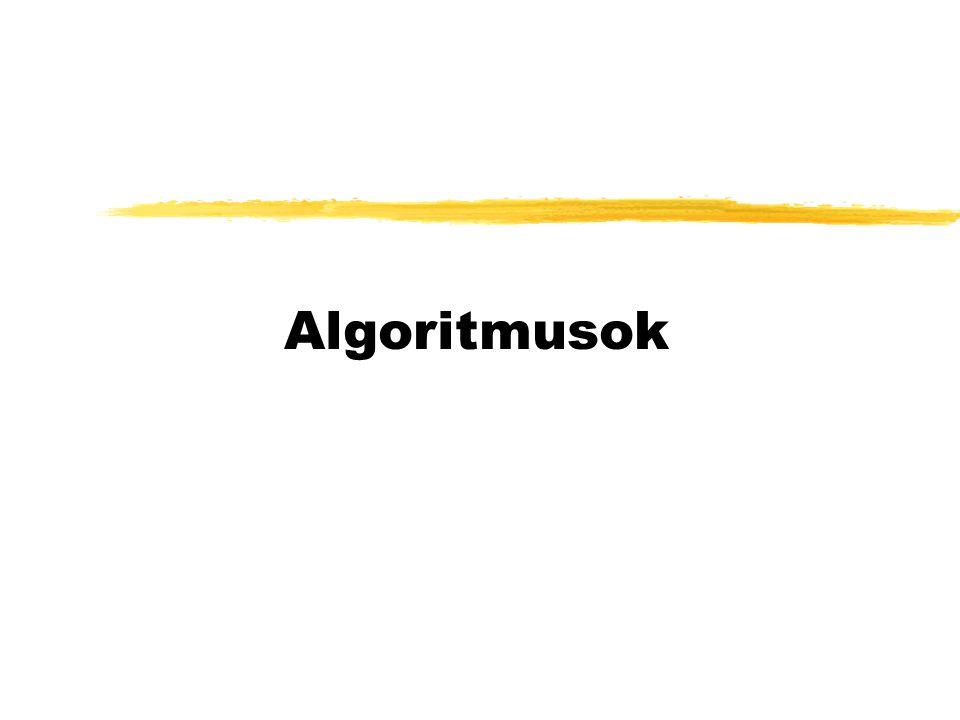 Algoritmus fogalma: zEgy feladat megoldására szolgáló egyértelműen előírt módon és sorrendben végrehajtandó véges tevékenységsorozat, mely véges idő alatt befejeződik.