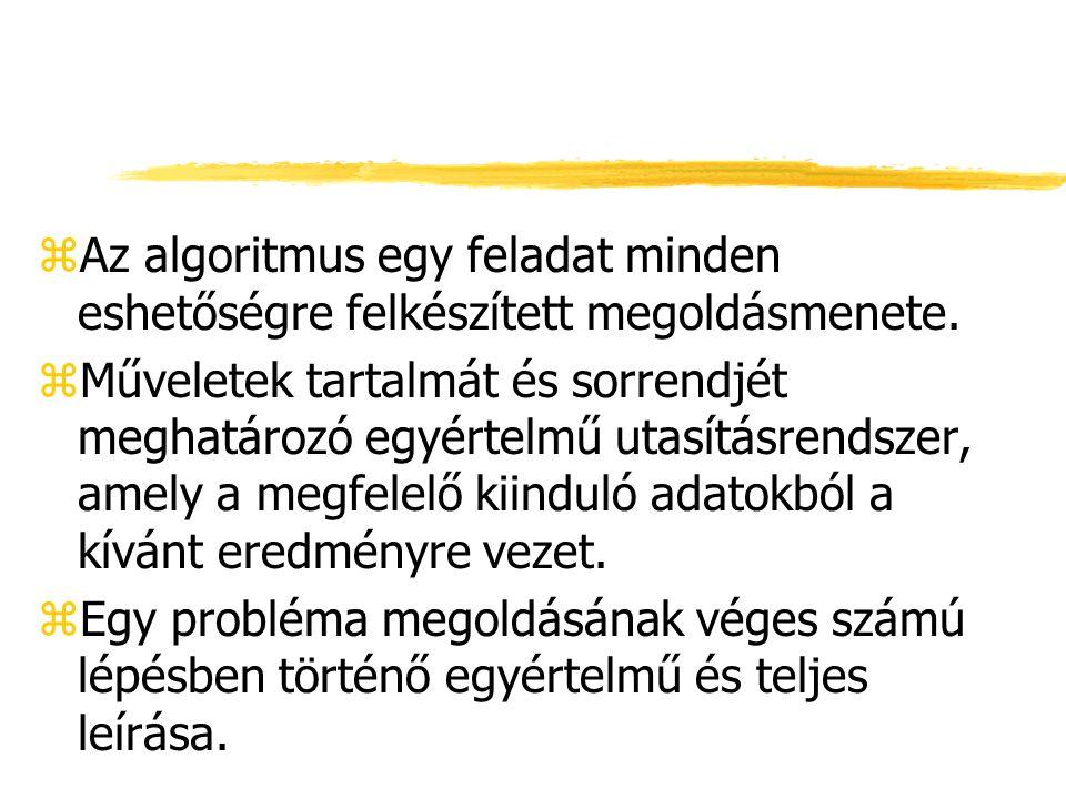 Az algoritmus tulajdonságai: zVégrehajtható zminden lépése egy elemi utasítás vagy további algoritmus zegy és csak egy felé haladhatunk tovább (meghatározott sorrend) zvéges számú lépésben véget ér
