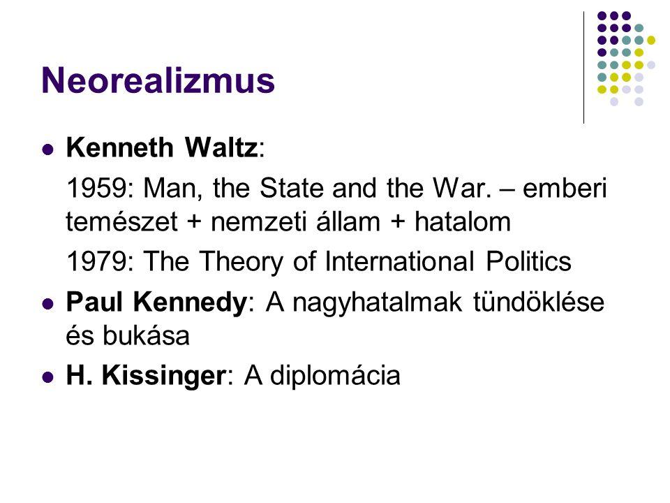 Neorealizmus Kenneth Waltz: 1959: Man, the State and the War. – emberi temészet + nemzeti állam + hatalom 1979: The Theory of International Politics P