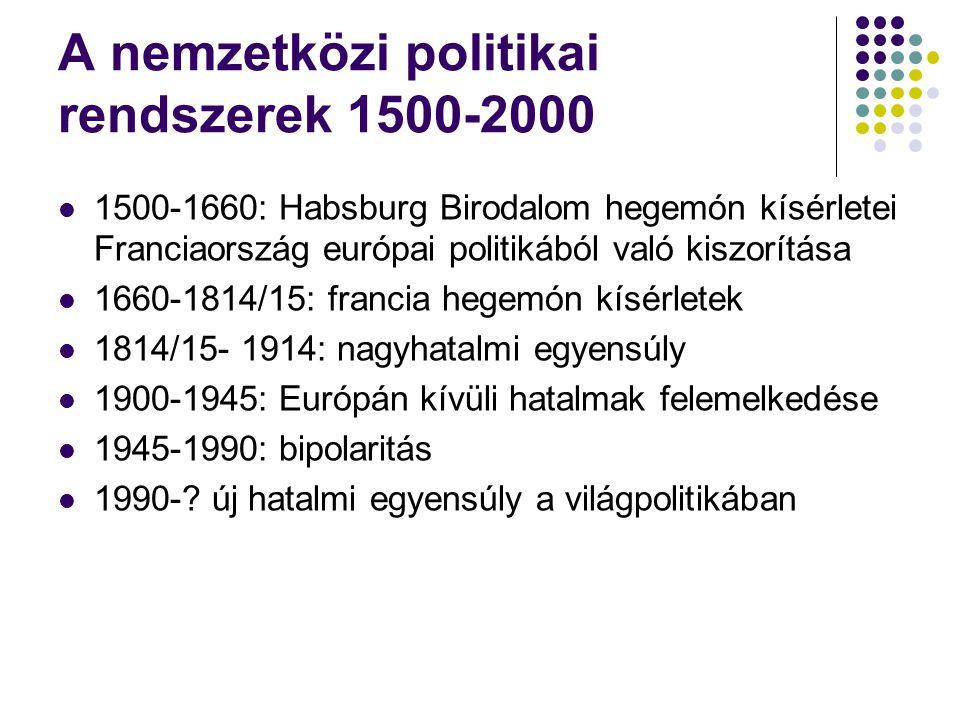A nemzetközi politikai rendszerek 1500-2000 1500-1660: Habsburg Birodalom hegemón kísérletei Franciaország európai politikából való kiszorítása 1660-1
