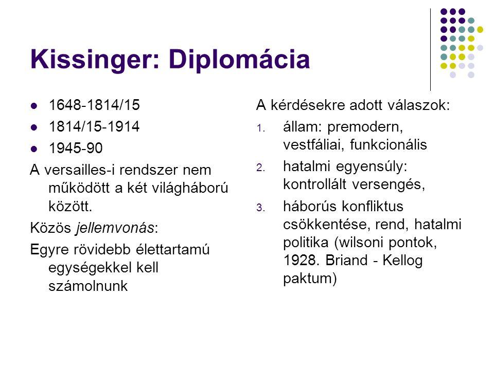 Kissinger: Diplomácia 1648-1814/15 1814/15-1914 1945-90 A versailles-i rendszer nem működött a két világháború között. Közös jellemvonás: Egyre rövide