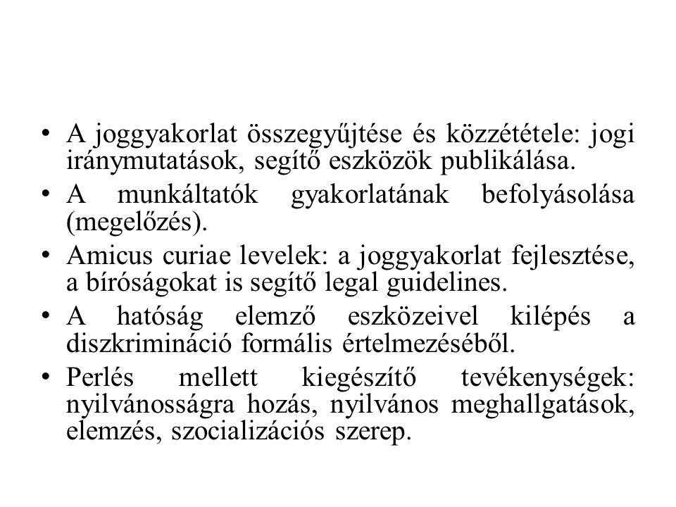 A joggyakorlat összegyűjtése és közzététele: jogi iránymutatások, segítő eszközök publikálása.