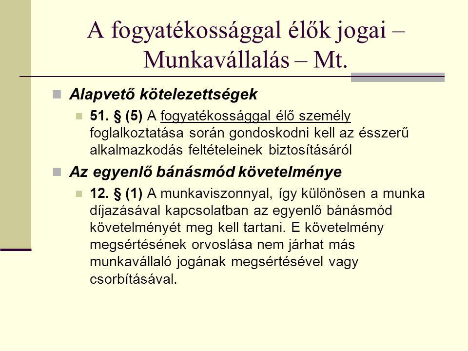 A fogyatékossággal élők jogai – Munkavállalás – Mt. Alapvető kötelezettségek 51. § (5) A fogyatékossággal élő személy foglalkoztatása során gondoskodn