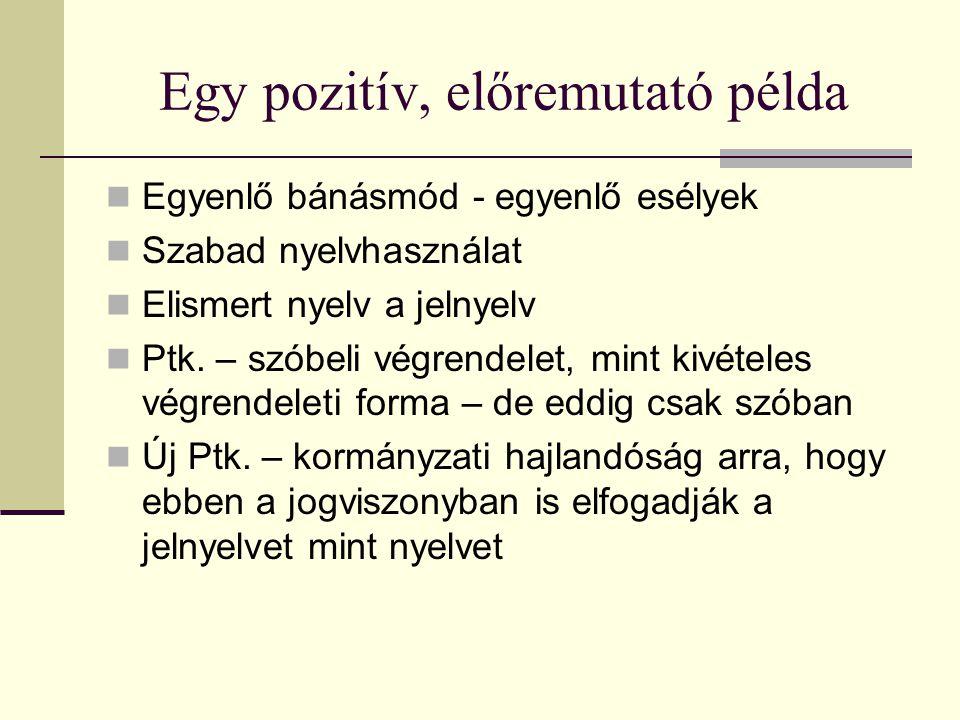 Egy pozitív, előremutató példa Egyenlő bánásmód - egyenlő esélyek Szabad nyelvhasználat Elismert nyelv a jelnyelv Ptk. – szóbeli végrendelet, mint kiv
