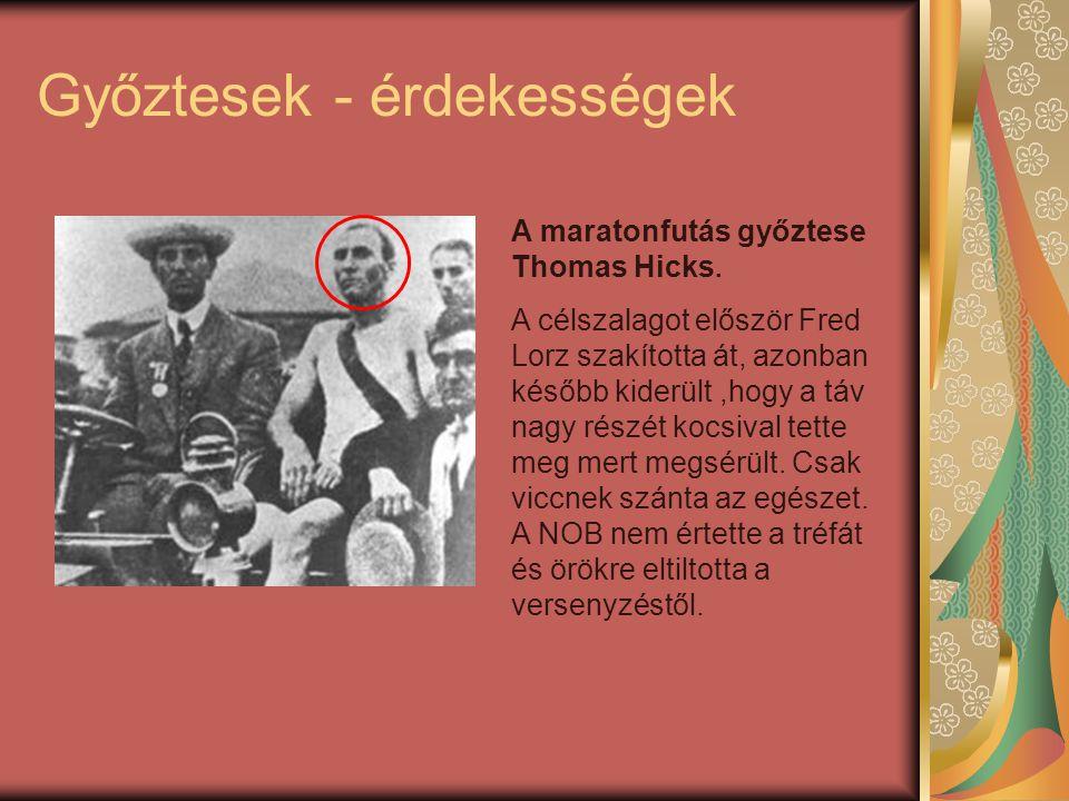 Győztesek - érdekességek A maratonfutás győztese Thomas Hicks.