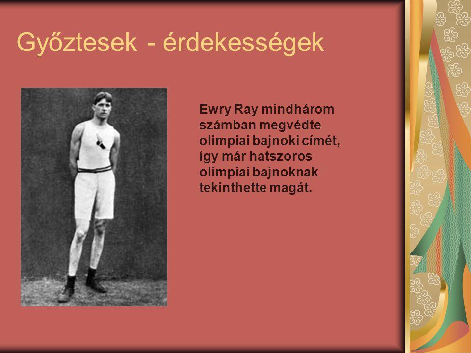 Győztesek - érdekességek Ewry Ray mindhárom számban megvédte olimpiai bajnoki címét, így már hatszoros olimpiai bajnoknak tekinthette magát.