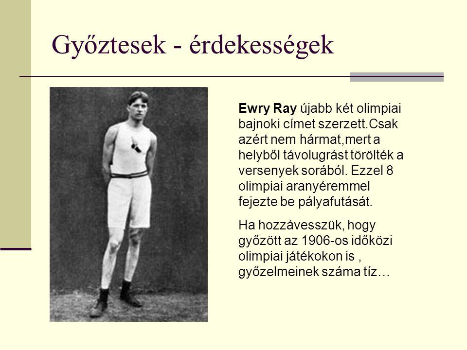 Győztesek - érdekességek Ewry Ray újabb két olimpiai bajnoki címet szerzett.Csak azért nem hármat,mert a helyből távolugrást törölték a versenyek sorából.