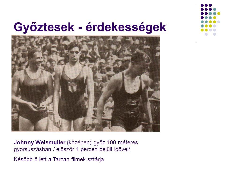 Győztesek - érdekességek Johnny Weismuller (középen) győz 100 méteres gyorsúszásban / először 1 percen belüli idővel/.