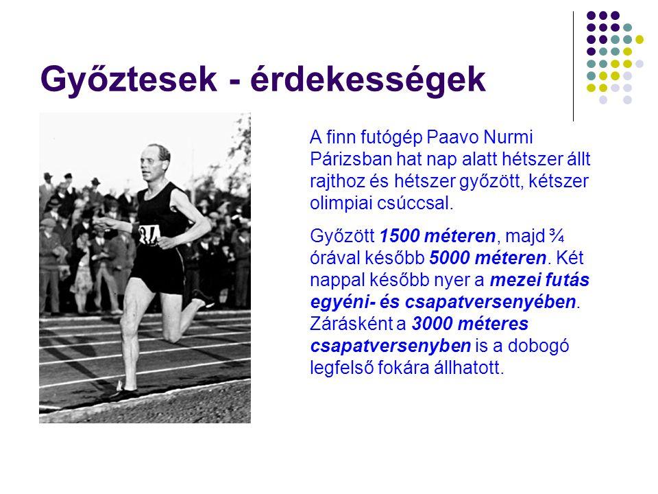 Győztesek - érdekességek A finn futógép Paavo Nurmi Párizsban hat nap alatt hétszer állt rajthoz és hétszer győzött, kétszer olimpiai csúccsal.