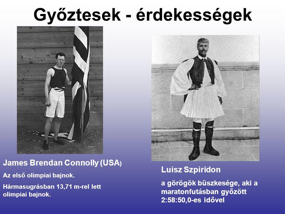 Győztesek - érdekességek James Brendan Connolly (USA ) Az első olimpiai bajnok.