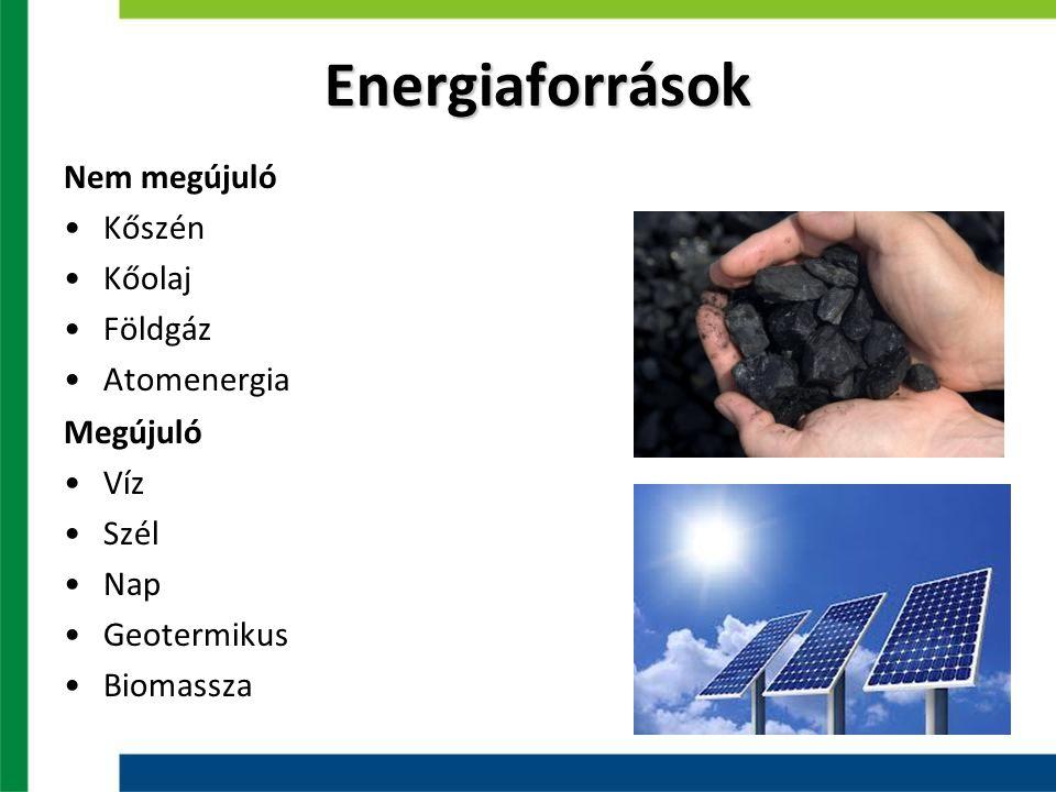 Energiaforrások Nem megújuló Kőszén Kőolaj Földgáz Atomenergia Megújuló Víz Szél Nap Geotermikus Biomassza