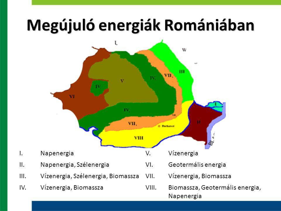 Megújuló energiák Romániában I.NapenergiaV.Vízenergia II.Napenergia, SzélenergiaVI.Geotermális energia III.Vízenergia, Szélenergia, BiomasszaVII.Vízenergia, Biomassza IV.Vízenergia, BiomasszaVIII.Biomassza, Geotermális energia, Napenergia