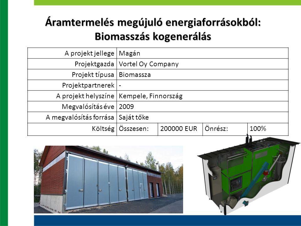 Áramtermelés megújuló energiaforrásokból: Biomasszás kogenerálás A projekt jellegeMagán ProjektgazdaVortel Oy Company Projekt típusaBiomassza Projektpartnerek- A projekt helyszíneKempele, Finnország Megvalósítás éve2009 A megvalósítás forrásaSaját tőke KöltségÖsszesen:200000 EURÖnrész:100% BevételEURKiadásEUR Elektromosság13200Faapríték23333 Zöld bizonylatok52800 Összesen66000Összesen23333 Profit42666 Megtérülési idő kb.