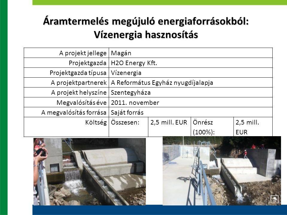 Áramtermelés megújuló energiaforrásokból: Vízenergia hasznosítás A projekt jellegeMagán ProjektgazdaH2O Energy Kft. Projektgazda típusaVízenergia A pr