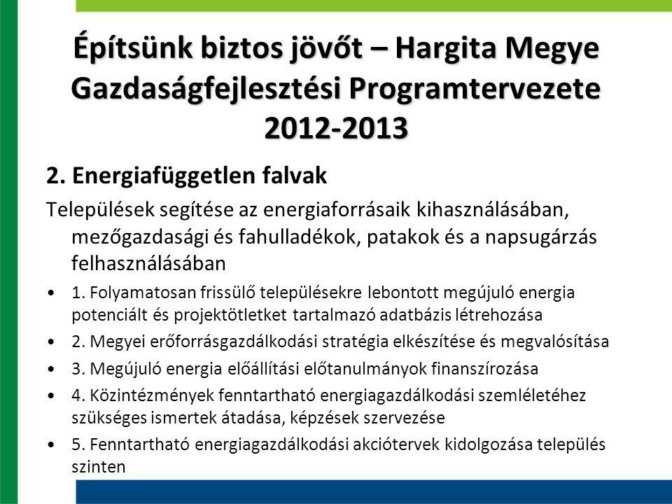 Építsünk biztos jövőt – Hargita Megye Gazdaságfejlesztési Programtervezete 2012-2013 2. Energiafüggetlen falvak Települések segítése az energiaforrása