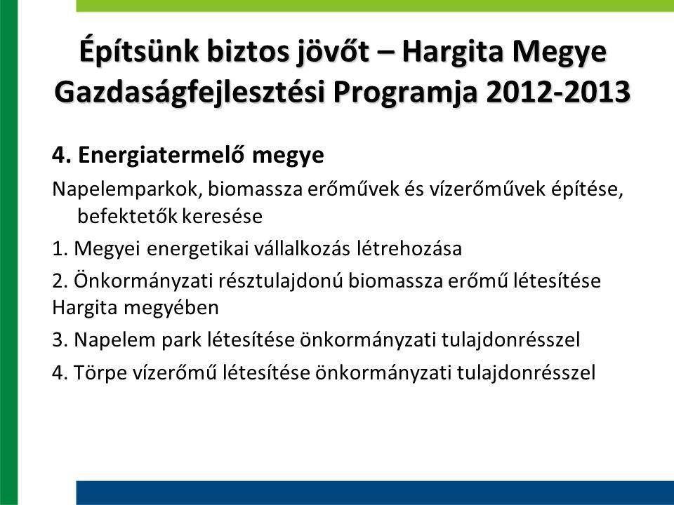 Hargita megye energiatermelése ErőműKapacitás Zetelaki gátnál levő vízerőmű 2 MW Szentegyházi vízerőmű 1 MW 45 MW teljesítményű vízenergia potenciál, 500.000 MWh fűtőérték lehetne nyerhető fahulladékból
