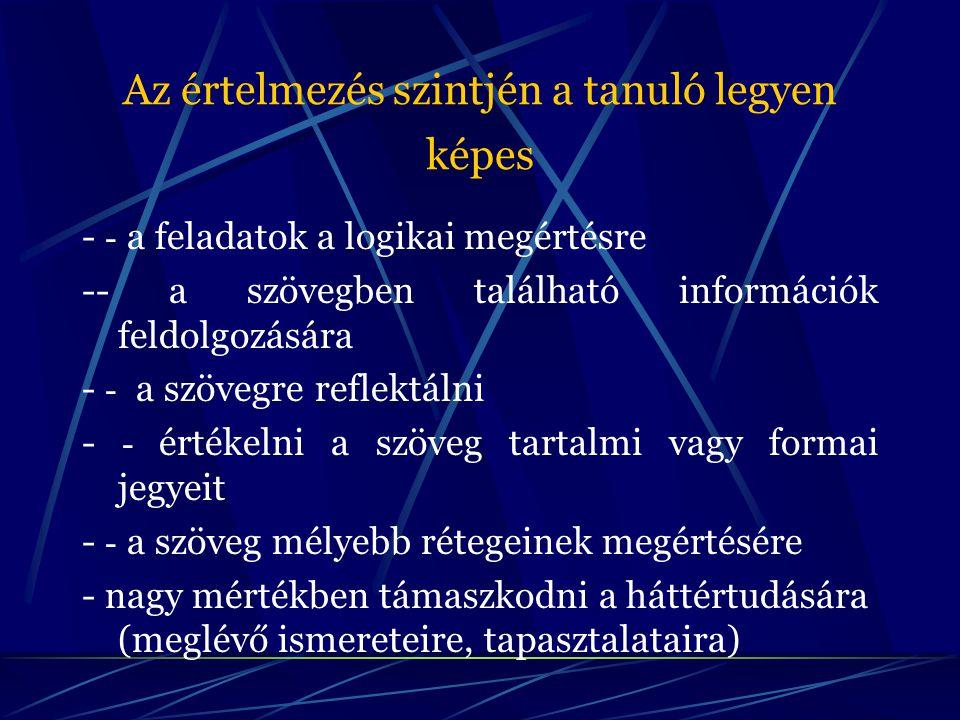 Az értelmezés szintjén a tanuló legyen képes - - a feladatok a logikai megértésre -- a szövegben található információk feldolgozására - - a szövegre r