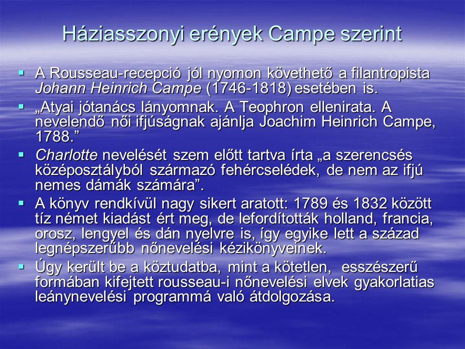 """Háziasszonyi erények Campe szerint  A Rousseau-recepció jól nyomon követhető a filantropista Johann Heinrich Campe (1746-1818) esetében is.  """"Atyai"""