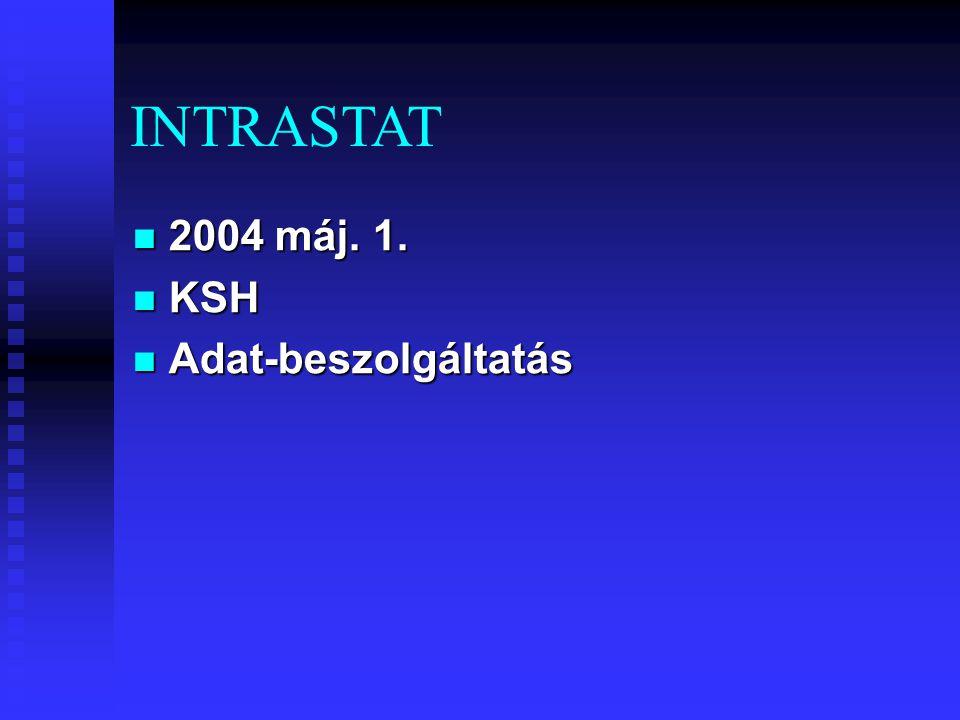 2004 máj. 1. 2004 máj. 1. KSH KSH Adat-beszolgáltatás Adat-beszolgáltatás INTRASTAT