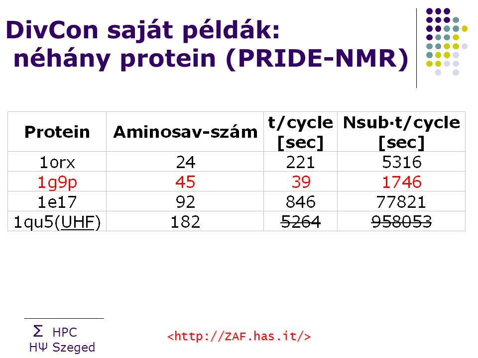 Σ HPC HΨ Szeged DivCon saját példák: néhány protein (PRIDE-NMR)