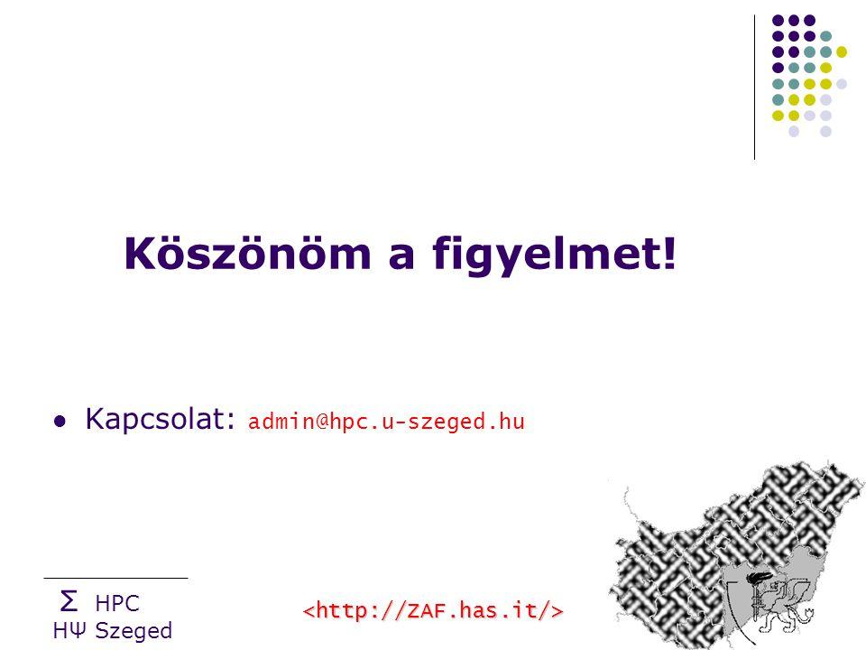 Σ HPC HΨ Szeged Köszönöm a figyelmet! Kapcsolat: admin@hpc.u-szeged.hu