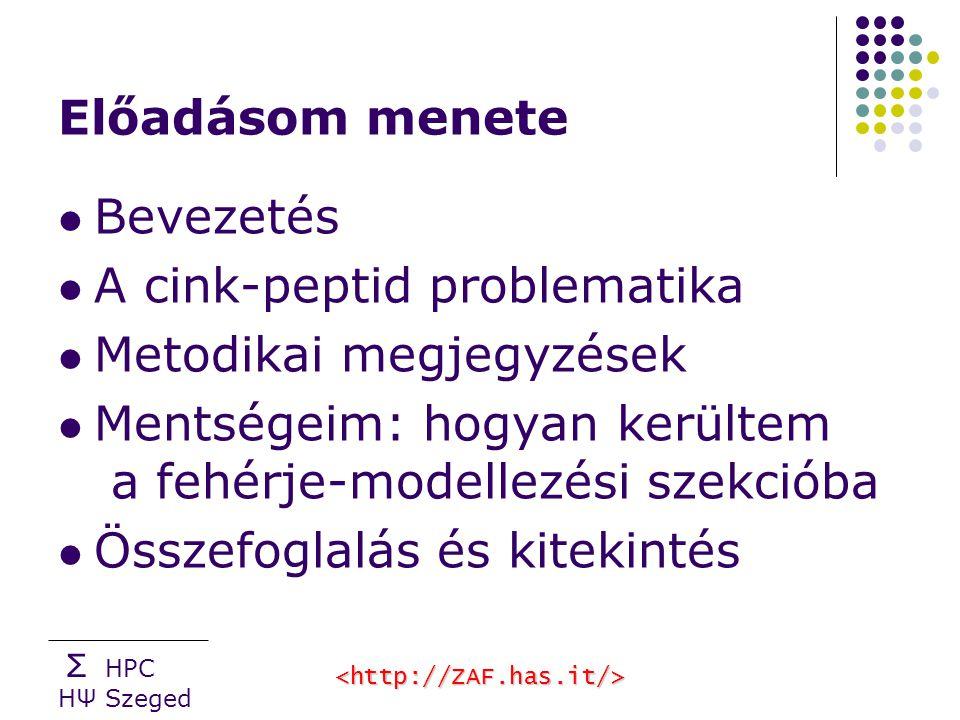 Σ HPC HΨ Szeged Előadásom menete Bevezetés A cink-peptid problematika Metodikai megjegyzések Mentségeim: hogyan kerültem a fehérje-modellezési szekcióba Összefoglalás és kitekintés
