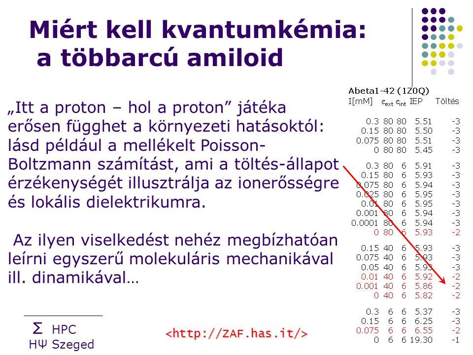 """Σ HPC HΨ Szeged Miért kell kvantumkémia: a többarcú amiloid """"Itt a proton – hol a proton játéka erősen függhet a környezeti hatásoktól: lásd például a mellékelt Poisson- Boltzmann számítást, ami a töltés-állapot érzékenységét illusztrálja az ionerősségre és lokális dielektrikumra."""