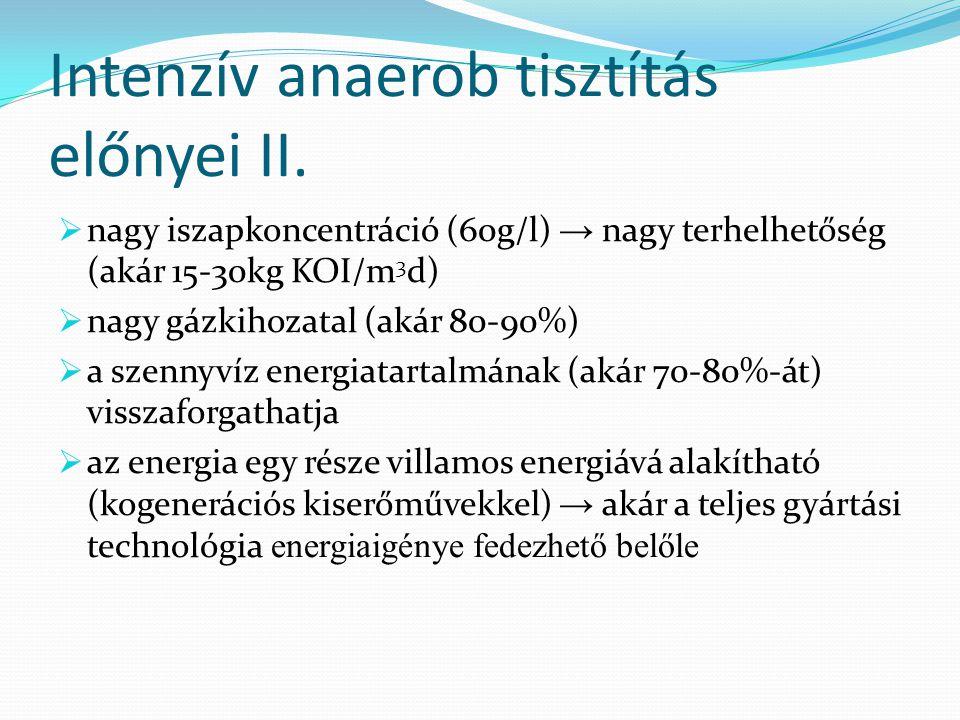 Intenzív anaerob tisztítás előnyei II.  nagy iszapkoncentráció (60g/l) → nagy terhelhetőség (akár 15-30kg KOI/m 3 d)  nagy gázkihozatal (akár 80-90%
