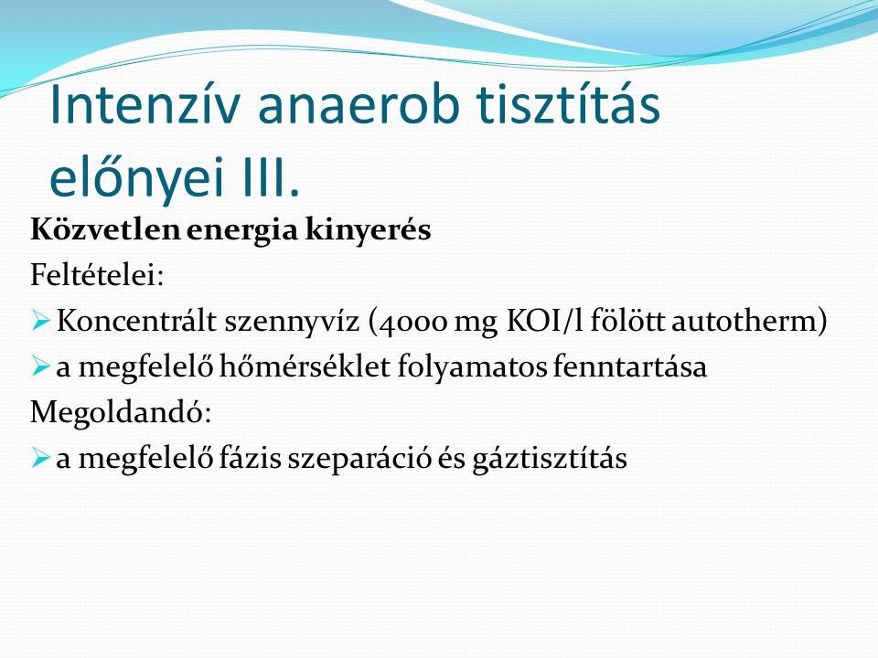 Intenzív anaerob tisztítás előnyei III. Közvetlen energia kinyerés Feltételei:  Koncentrált szennyvíz (4000 mg KOI/l fölött autotherm)  a megfelelő