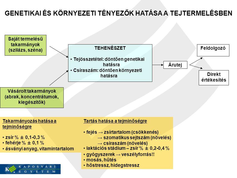 GENETIKAI ÉS KÖRNYEZETI TÉNYEZŐK HATÁSA A TEJTERMELÉSBEN Saját termelésű takarmányok (szilázs, széna) Vásárolt takarmányok (abrak, koncentrátumok, kie