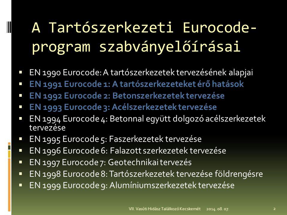 A Tartószerkezeti Eurocode- program szabványelőírásai  EN 1990 Eurocode: A tartószerkezetek tervezésének alapjai  EN 1991 Eurocode 1: A tartószerkez
